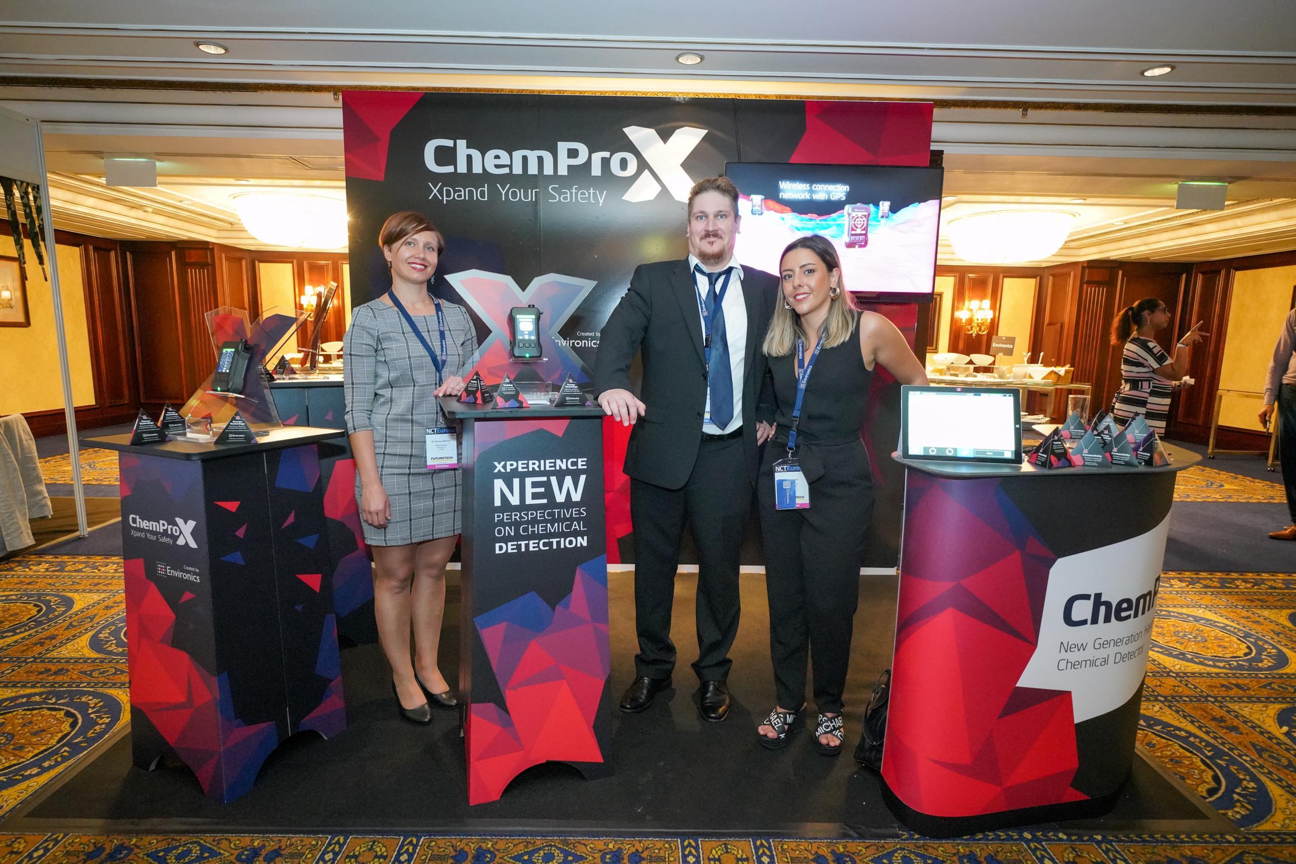 Environics team Teemu Partanen, Matleena Marttinen, and Ana Lopes showcasing ChemProX at NCT Europe in Vienna, 2019.