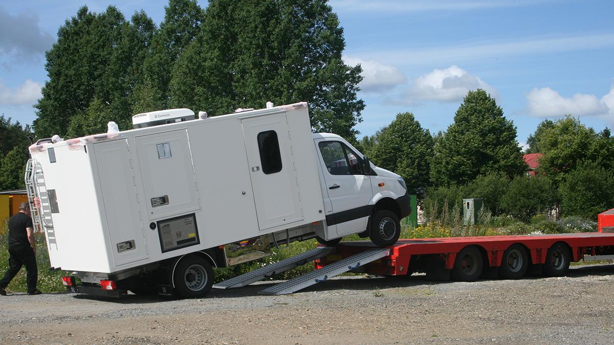 A ready light CBRN reconnaissance vehicle being shipped to the end-customer after a successful FAT conducted at Environics Oy facilities in Mikkeli, finland.